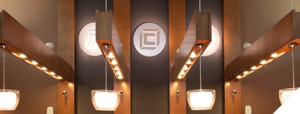 The Citizens Bank interior with logo on the wall and lights