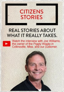 Citizens Stories Graphic with business owner, Joe Williams. Piggly Wiggly, Collinsville, Mississippi.