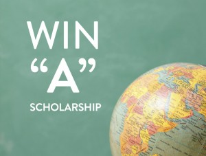 Win a Scholarship graphic with globe