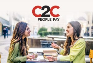 c2c logo on a photo with two friends having lunch and smiling